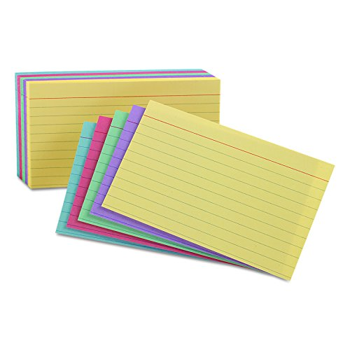 "Oxford Ruled Color Cards, 5"" x 8"", Assorted Colors, 100 Per Pack (35810)"