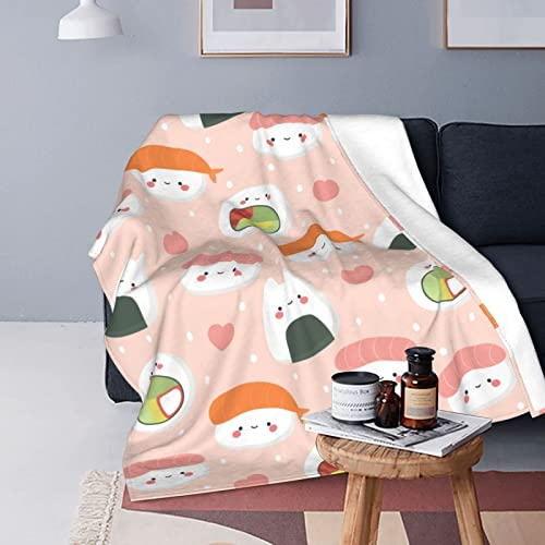 LINGF Flannel Twin Size Blanket Cute Sushi Food Pattern Plush Warm Bed Blanket Soft Throw Blanket Fits Couch Sofa 60x50 Microfiber