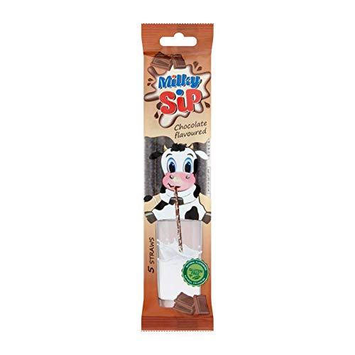 Milky Sip Strohhalme 120 Stück - 24 Packungen je 5 Trinkhalme in Schokoladengeschmack