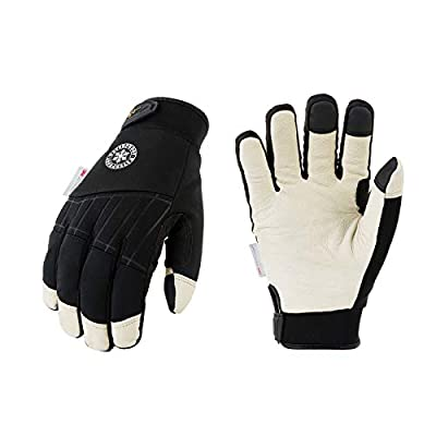 Vgo 1-Pair 32? or above 3M Thinsulate C40 Lined Winter Premium Pigskin Leather Waterproof Work Gloves (Size L, Black, PA1016FW)