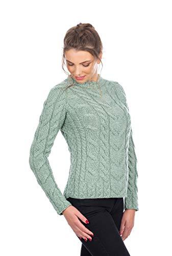 SAOL Ladies Soft Irischer Zopfpullover aus 100% Merinowolle (Hellgrün, X-Large)