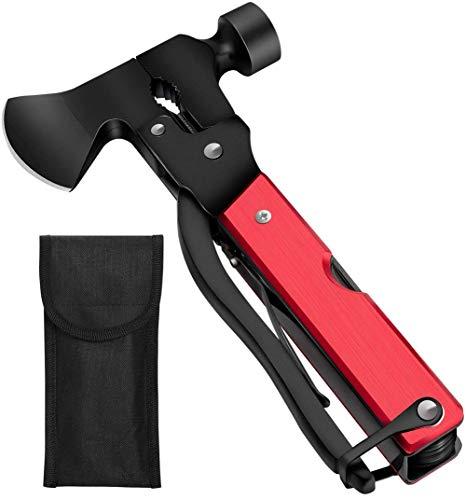 Multitool 18 in 1, Multifunktionswerkzeug, Camping Survival Kit, Edelstahl Tragbar Hammer für Camping,Wander,Notfall im Freien, Geschenke für Mann