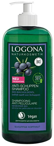 LOGONA Naturkosmetik Anti-Schuppen Shampoo Bio-Wacholderöl, Effektiv gegen Schuppen&Neubildung, Beruhigt gereizte&trockene Kopfhaut, Mit Bio-Pflanzenextrakten, Vegan, Vorteilsgröße & Pumpspender 750ml