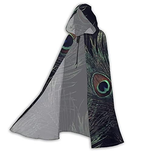 Unisex Full Length Hooded Cape Halloween Party Vampires Fabulous Peacock Black Diamond Adult Cloak