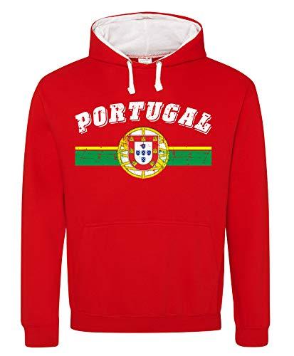 Aprom-Sports Portugal Hoody Trikot WM EM Fussball Sport Hoodie Kapuzenpullover D03 RoWe (XL)