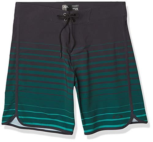 Oakley Men's Shades 19 Boardshort, Black/Green Stripes, 34