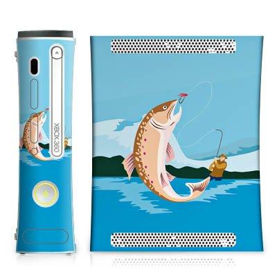 DeinDesign Skin kompatibel mit Microsoft Xbox 360 Aufkleber Folie Sticker Angeln Fischen Illustration