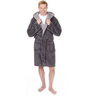 Men's Luxury Snuggle Fleece Hooded Dressing Gown (Sizes M-2XL) Thick Warm Plush Bath Robe:Kostenlosefilme
