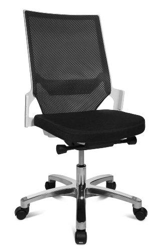 Drehstuhl Autosynchron®-1 Alu schwarz mit Aluminium-Fußkreuz Rückengestell weiß ohne Armlehnen