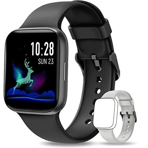 NAIXUES Smartwatch, Reloj Inteligente IP68 para Hombre, Reloj Deportivo con Monitor de Sueño Pulsómetro Podómetro Notifica Whatsapp, Pulsera Actividad Inteligente para Android iOS (Negro)