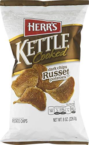 Herr's Kettle Cooked Potato Chips- Ripple Cut, Dark Russet, Cracked Pepper or Boardwalk Salt & Vinegar (Dark Russet, 3 Bags)