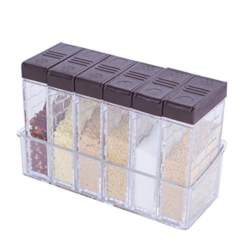 KaryHome Spice Shaker Jars, Seasoning Shaker Box Condiment Set , Seasoning Storage Containers,Brown