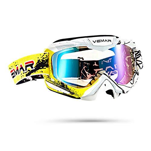 Galatée Serie de rayas colores deportivos moda Motocross Vidrios Prueba Viento UV Goggle para Esquí,Patinaje,Escalada,Camping,Carreras,Gafas para el Polvo,Resistentes al Viento(Amarillo+blanco)