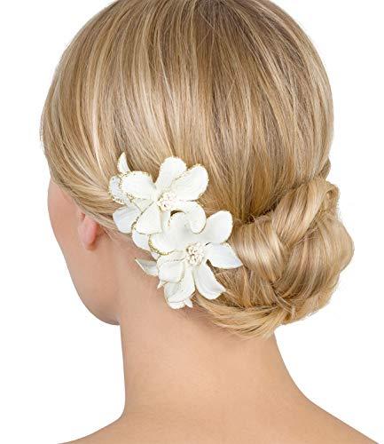 SIX 2er Set, Damen Haarschmuck, Haarspangen, Haarclips, Blumen, Hochzeit, Stoffblumen, Karneval, Fasching, weiß, goldfarbene Details (24-596)