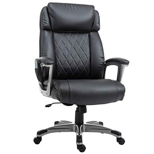 Vinsetto Massage-Bürostuhl 6-Punkt-Massage-Drehstuhl aus Kunstleder mit gewölbter Kopfstütze und Armlehne, schwarz, 70B x 76,5T x 124H cm