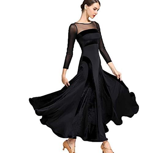 ZYLL Frauen moderner Walzer Tango Tanzen Kleidung Modern Dance Dress nationalen Standard Kleid Ballsaal Wettbewerb Kleid der Frauen,Black,S