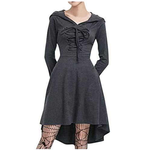 Kleider Hexe Kostüm Zombie Vampir Braut Faschingskostüm Lang Hexenkleid Damen 50er Vintage Rockabilly Pin up Cocktailkleid Polka Dots Frauen Herbst Casual Langarm Bandage Kapuze (L4.Grau)