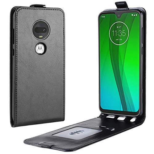 HualuBro Moto G7 Plus Hülle, Leder Brieftasche Etui LederHülle Tasche Schutzhülle HandyHülle Handytasche Leather Wallet Flip Hülle Cover für Motorola Moto G7 Plus (Schwarz)