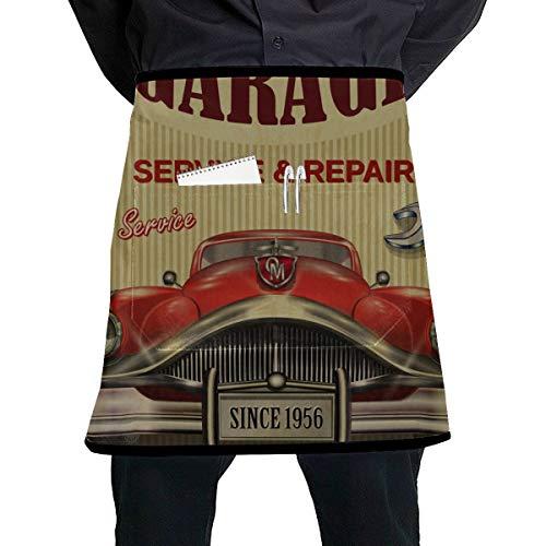 Yushg Delantales para camareras Vintage Garage Retro Poster Camarera Disfraz de Delantal con Bolsillo Grande Unisex para Cocina Elaboracin Barbacoa Dibujo