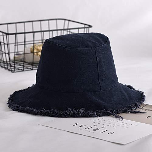 Zhangl Mask Hat 2 UNIDS Color Sólido Cowboy Wind Edge Fisherman Hat Versión Coreana del Tide Wild Student Basin Hat Mask Hat (Color : Black)