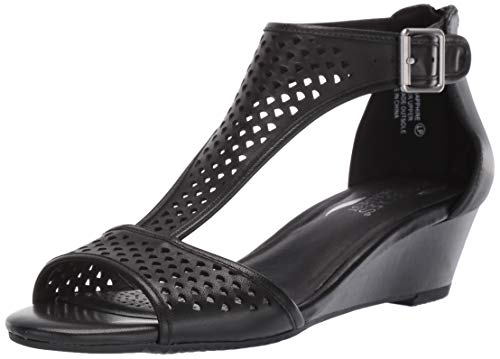 Aerosoles Women's Sapphire Wedge Sandal, Black Leather, 6 M US