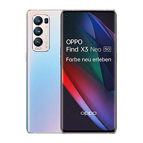 OPPO Find X3 Neo 5G Smartphone, 6,5 Zoll 90 Hz AMOLED Bildschirm, 50 MP KI Vierfachkamera, 4.500 mAh mit 65W SuperVOOC 2.0 Schnellladen, 12 GB RAM, inkl. Gutschein [Exklusiv bei Amazon], Galactic Silver