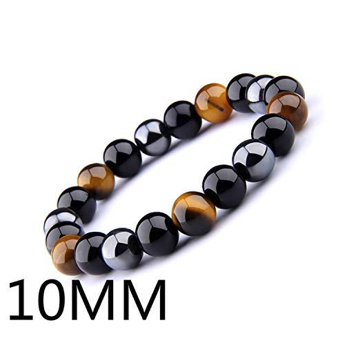 Pulsera Brazalete, Joyeria Regalo, Natural Black Obsidian Hematite Tiger Eye Beads Bracelet Men For Magnetic Health Protection Women Jewelry Pulsera Hombre 10MM 23cm