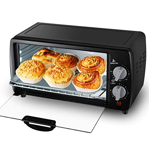 Riyyow 9L Mini-Backofen, platzsparender Haushalt Electric Ofen, 60 Minuten Timer Multifunktionsbackenbrötchenbraten Hühnerpizza, Backofen (Color : Black)