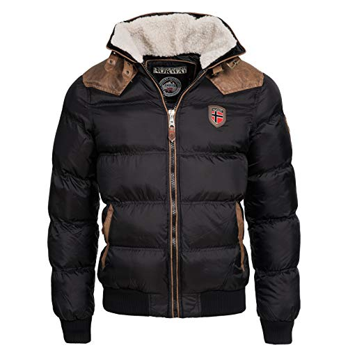 Geographical Norway Herren Winterjacke Abraham – Mantel mit Fell Kragen – Gefütterter Warmer Anorak Stepp – Bomber Outdoorjacke Winter 2017/18 (L, Schwarz)