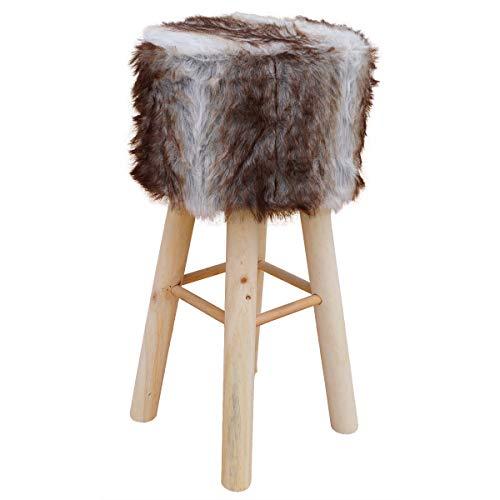 PrimoLiving Fellhocker/Barhocker aus Holz rund 70cm hoch (braun)