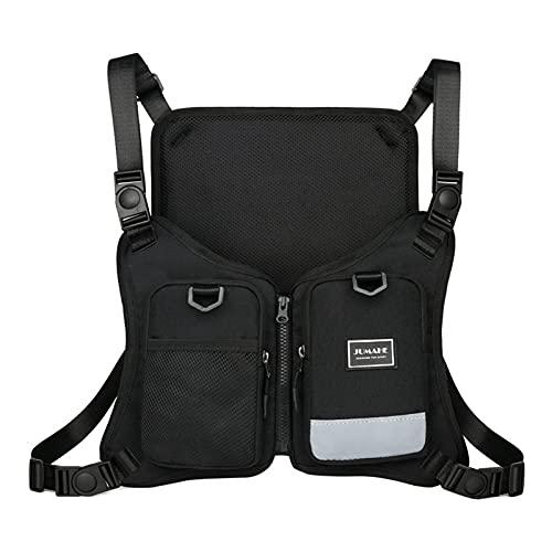 FOIROKASA チェストバッグ 反射ベスト 登山 釣り 夜にランニング 野外活動 キーホルダー ボディバッグ 肩ひも調節可能 大容量