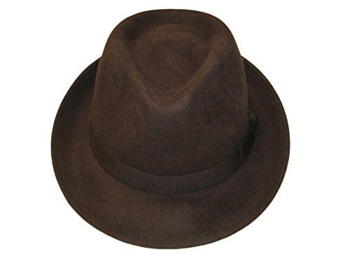 Unisexe Marron 100% Laine en Feutre Fedora Chapeau avec Bande – 4 Tailles - Marron - Large
