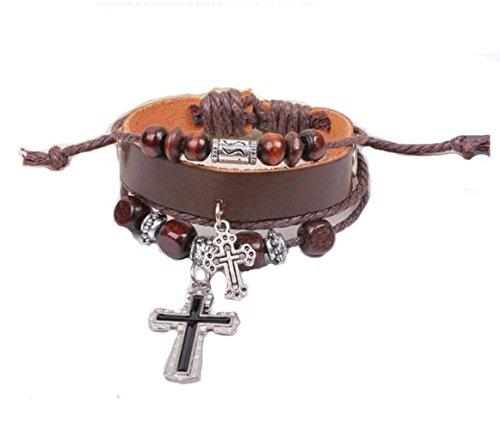 gudeke Herren, Damen Legierung Kreuz echt Leder Armband Armreif Seil verstellbar Kreuz
