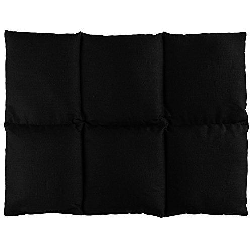 Traubenkernkissen groß 40x30-6-Kammer - schwarz - Wärmekissen Körnerkissen für Mikrowelle und Backofen