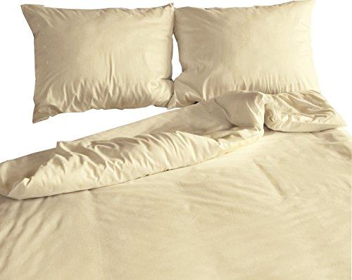 Carpe Sonno Mako Satin Bettwäsche 220x240 cm Creme - Elegante Hotelbettwäsche aus 100% Baumwolle für besten Schlafkomfort – Bettgarnitur Set mit Kopfkissenbezügen 80x80 cm und Makosatin Bettbezug