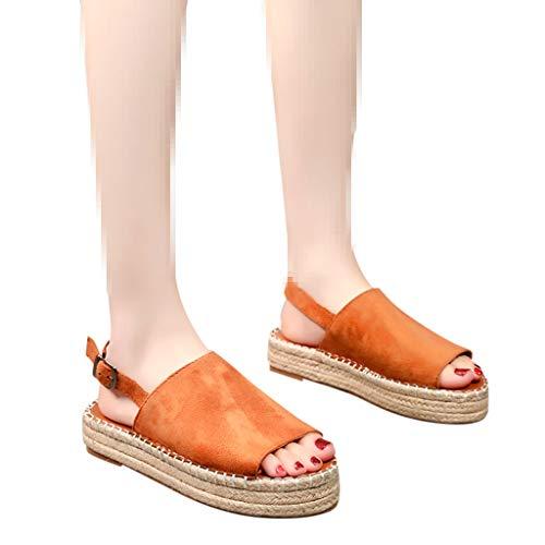 Best Buy! Dainzuy Womens Flat Sandals Open Toe Slip on Platform Peep Toe Woven Buckle Strap Flat Thi...