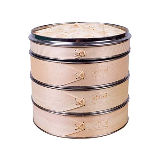 JY&WIN Handgefertigte 3-stufige Dampfkörbe, Küchenkorb aus Holz mit Deckel, Dampfgarer-Set Edelstahl verstärkt für Gemüseknödel Dim Sum, chinesischer Bambusdampfer 3 dritter Durchmesser 23,5 cm (9
