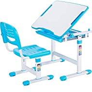 VIVO Blue Height Adjustable Childrens Desk and Chair Set | Kids Interactive Workstation