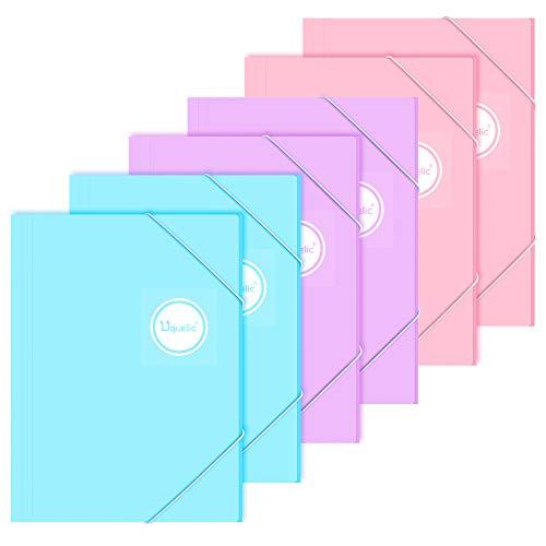 Uquelic Cartella con Elastici A4 Cartellina in Plastica Colourspan con Elastici Confezione da 6, Colori Assortiti