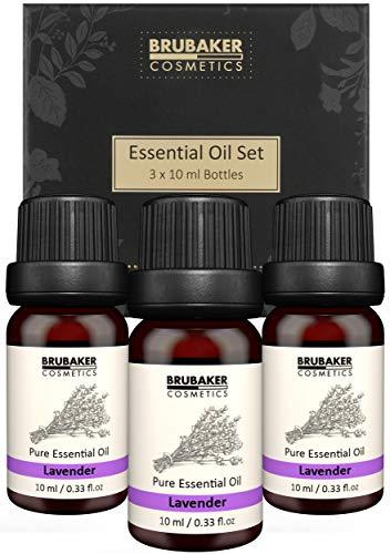 BRUBAKER Set van 3 Lavendelolie - Stress Relief, Ontspanning & Slaap - Etherische Oliën Aromatherapie Giftset 3 X 10 ML Lavendelolie Natuur & Veganistisch