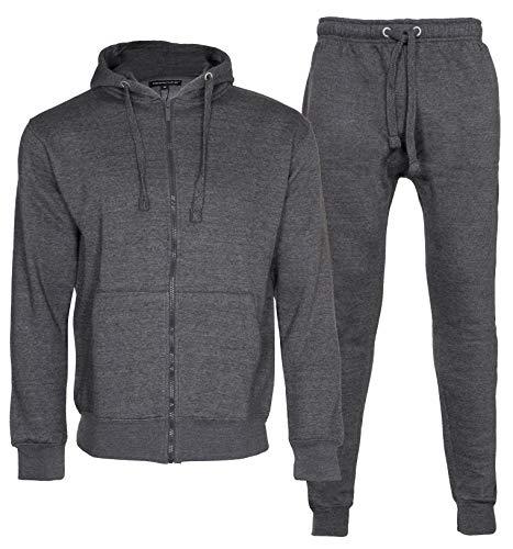 Noroze - Tuta da ginnastica da uomo in pile composta da felpa con cappuccio e pantaloni, con coulisse a contrasto Carbone tinta unita. M