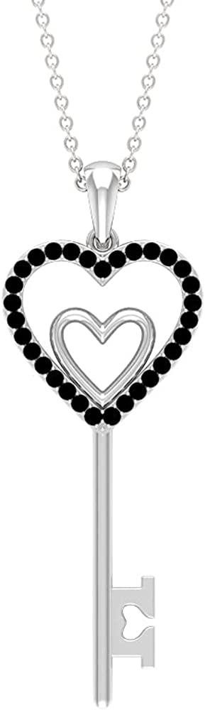1/4 CT Twin Heart Key Pendant Necklace with Black Onyx (AAA Quality)