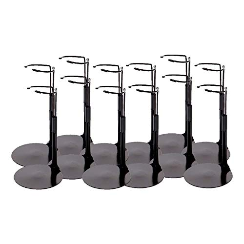 Kaiser Black 2075 - Action Figure Stand with Expandable Waist Wire for 6.5'-11' Dolls - 12 pcs