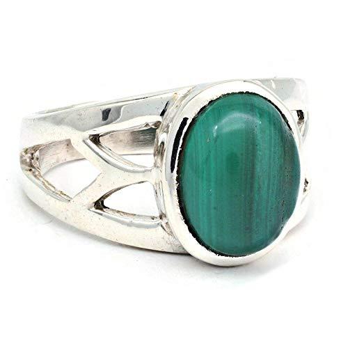 Ring Silber 925 Sterlingsilber Malachit grün Stein (Nr: MRI 187), Ringgröße:54 mm/Ø 17.2 mm