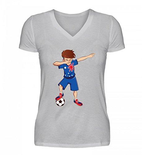 ALBASPIRIT Hochwertiges V-Neck Damenshirt - Dabbing Fussball Spieler Dab Australien Fan T-Shirt Australia Fussballer Geschenk