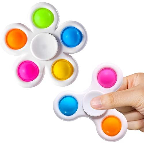 Fidget Spinners 2 Pack, sencillo al juguete de Fidget Fidget, POP Fidget Packs para niños, juguetes sensoriales de burbuja de empuje para adultos, Paquete de Fidget con Pop Hand Spinners Toy