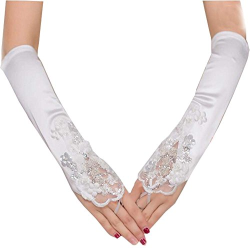 Gants de dentelle en satin Gants de mariage sans doigts Gants de dentelle en dentelle blanc