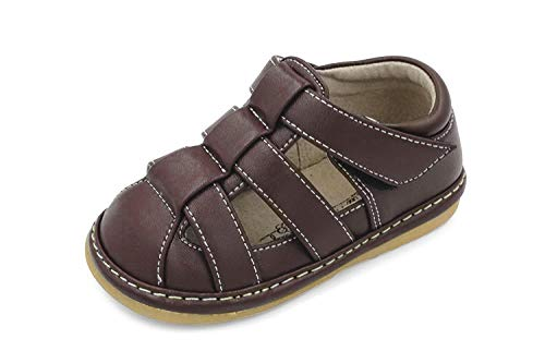 Little Mae's Boutique Toddler Boy Brown Full Coverage Closed Toe Squeaky Sandals, Ideal Baby Walking Shoes, Removable Squeakers (7)