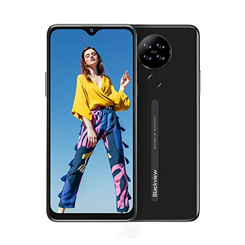 "Blackview A80 Moviles Libres 4G Android 10 GO con 6.21"" HD+ Water-Drop Screen, Cámara Trasera Cuádruple 13MP, Teléfono Móvil 2GB+16GB (SD 128GB), Batería 4200mAh Smartphone Libre, Face ID/GPS-Neg"