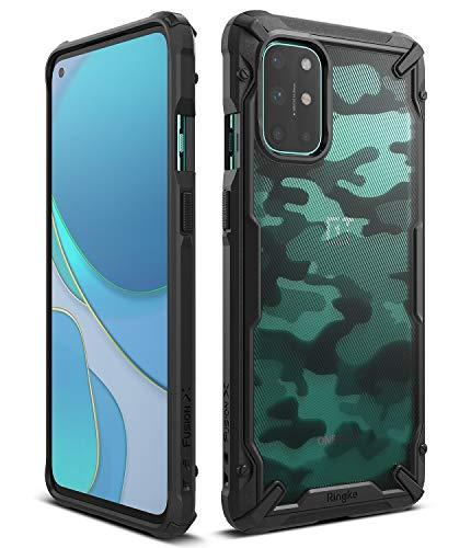 Ringke Fusion-X Kompatibel mit OnePlus 8T Hülle, Doppelte Hybrid Schutz vor Militär Muster Rückseite mit Ketten Loch für 8T / 8T Plus 5G - Camo Black Schwarz